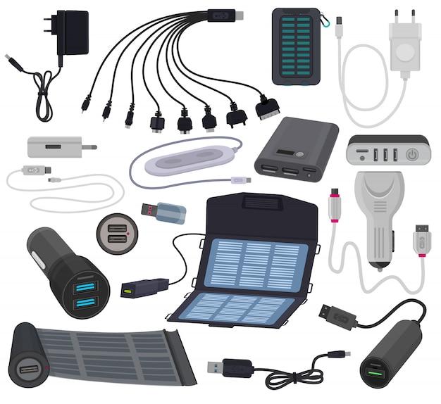 Kabelenergieladungstechnologie des ladegerätvektors mobile für smartphone Premium Vektoren