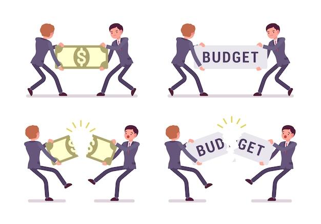 Kämpfen für ein papiergeld und ein wortbudget Premium Vektoren