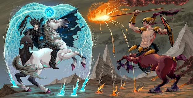 Kämpfen szene zwischen dunklen elf und zentaur fantasy vektor-illustration Premium Vektoren