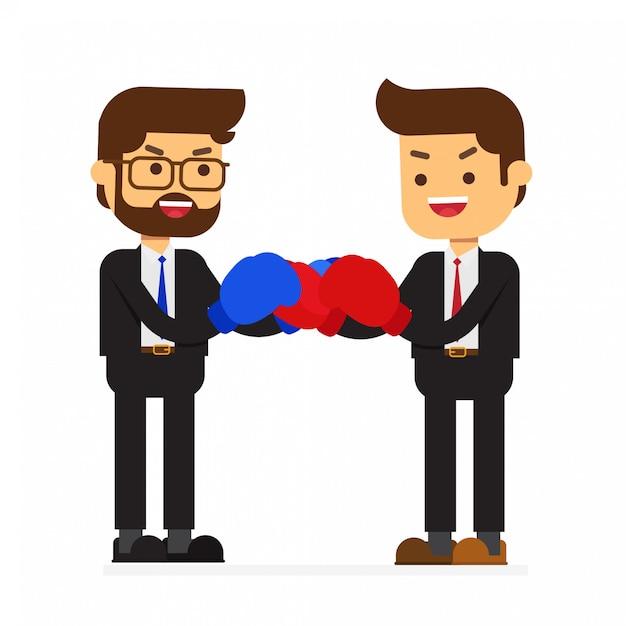 Kämpfender geschäftspartner oder kollege Premium Vektoren