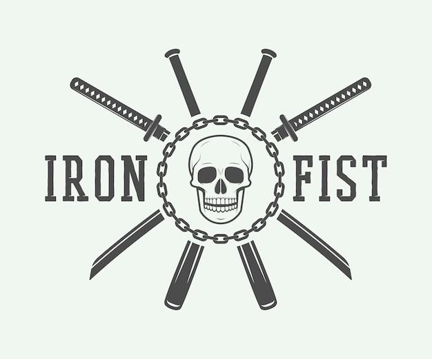Kämpfendes logo, emblem, abzeichen Premium Vektoren