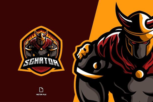 Kämpfer spartan wikinger maskottchen logo spiel sport tempalte illustration Premium Vektoren