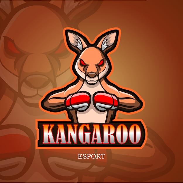 Känguru-maskottchen-esport-logo. Premium Vektoren