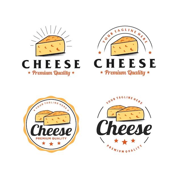 Käse abzeichen einfache logo-design-inspiration Premium Vektoren