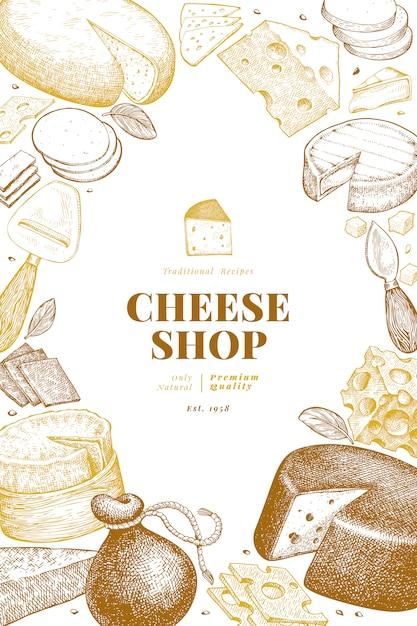 Käse design vorlage. hand gezeichnete vektormilchillustration. gravierte art verschiedene käsesorten banner. retro food hintergrund. Premium Vektoren