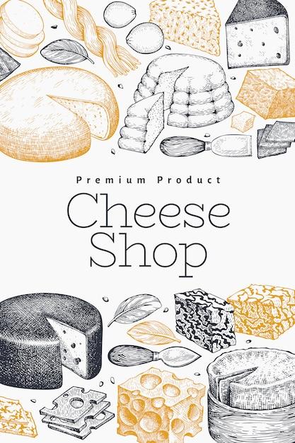 Käse design vorlage. hand gezeichnete vektormilchillustration. gravierte art verschiedene käsesorten banner. vintage food hintergrund. Premium Vektoren
