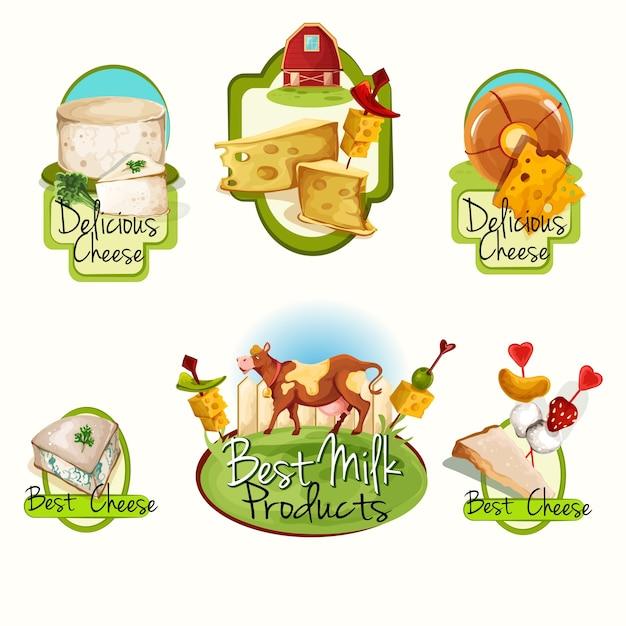 Käse-etiketten-set Kostenlosen Vektoren
