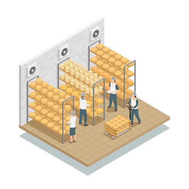Käse-gewebe-speicher-isometrische zusammensetzung Kostenlosen Vektoren