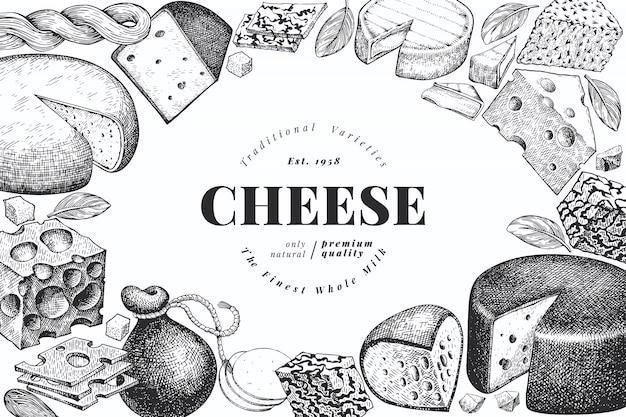 Käse. hand gezeichnete vektormilchillustration. Premium Vektoren
