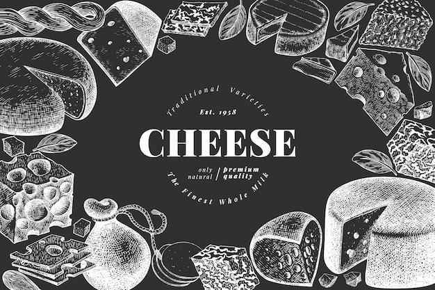 Käse-illustration-vorlage Premium Vektoren