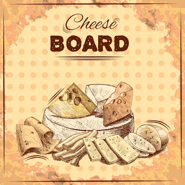Käse-skizze-abbildung Kostenlosen Vektoren