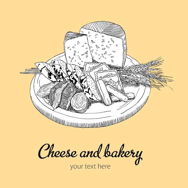 Käse und bäckerei illustration Kostenlosen Vektoren