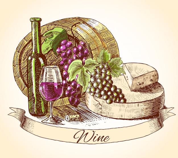 Käse wein und brot Premium Vektoren