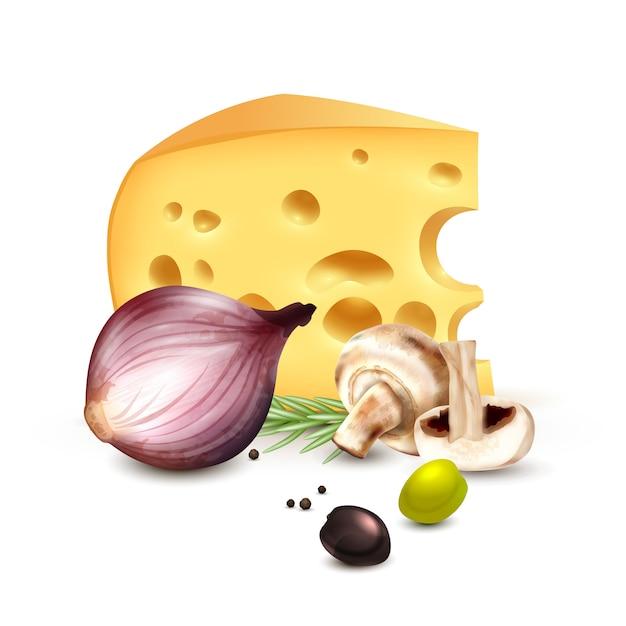 Käse-zwiebel-oliven-realistisches hintergrund-plakat Kostenlosen Vektoren