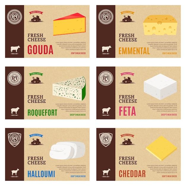 Käseetiketten und verpackungsdesignelemente Premium Vektoren