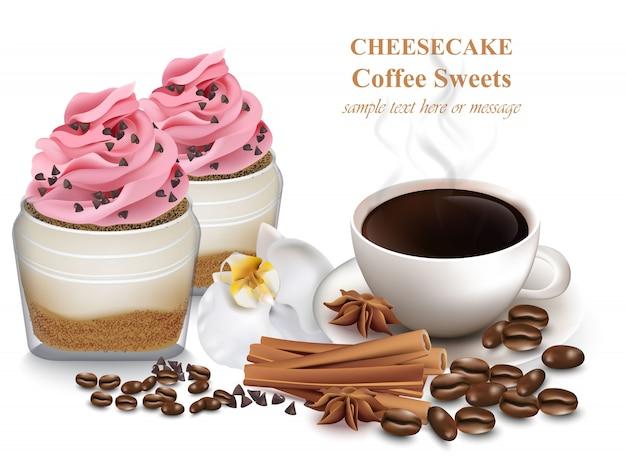 Käsekuchen und frischer kaffee Premium Vektoren
