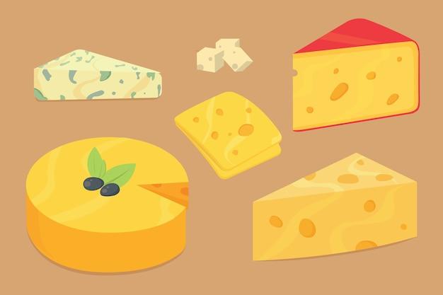 Käsesorten. moderne realistische illustrationsikonen. isolierter parmesan oder cheddar frisch auf weißem hintergrund. Premium Vektoren