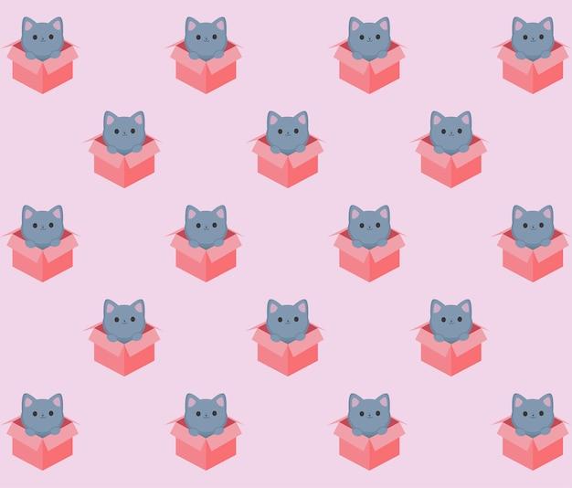 Kätzchen im kastenmuster Premium Vektoren