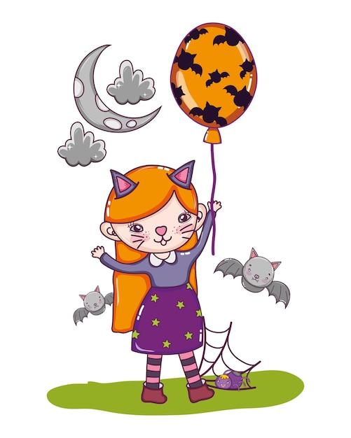 Kätzchen mädchen kostüm mit fledermäusen und luftballons Premium Vektoren
