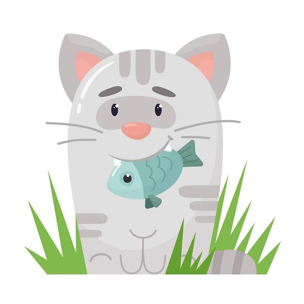 Kätzchen mit einem fisch in den zähnen Premium Vektoren