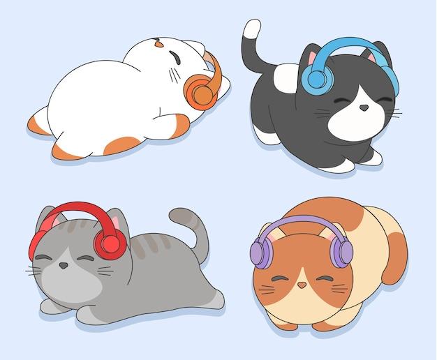 Kätzchen mit kopfhörern Premium Vektoren
