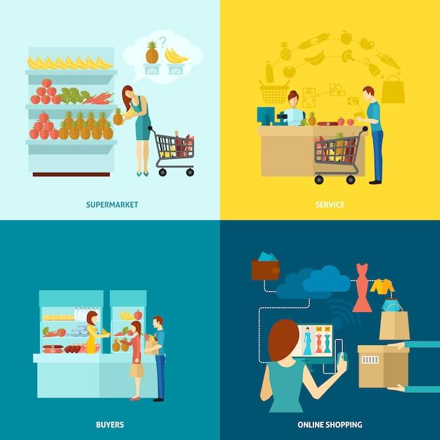 Käufer-zeichensatz Kostenlosen Vektoren