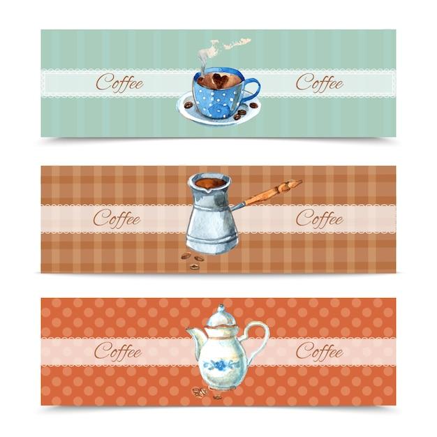 Kaffee banner eingestellt Kostenlosen Vektoren