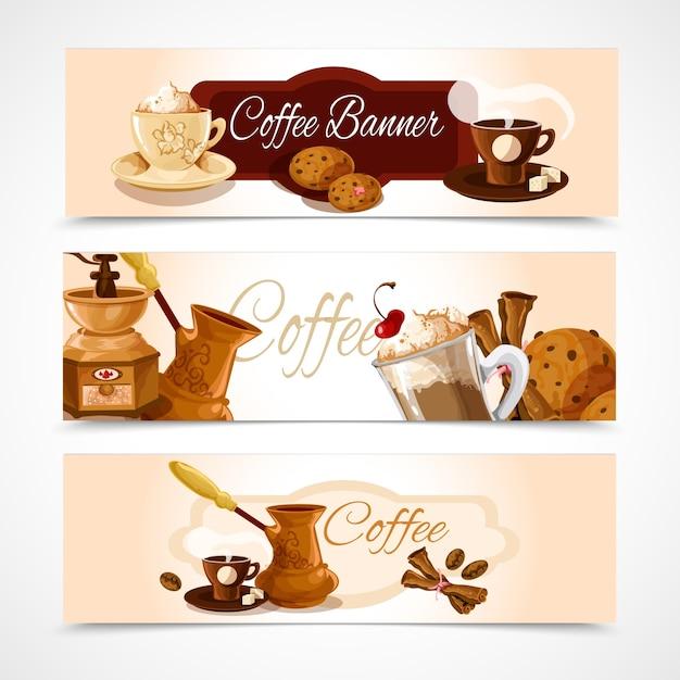 Kaffee banner horizontal Kostenlosen Vektoren