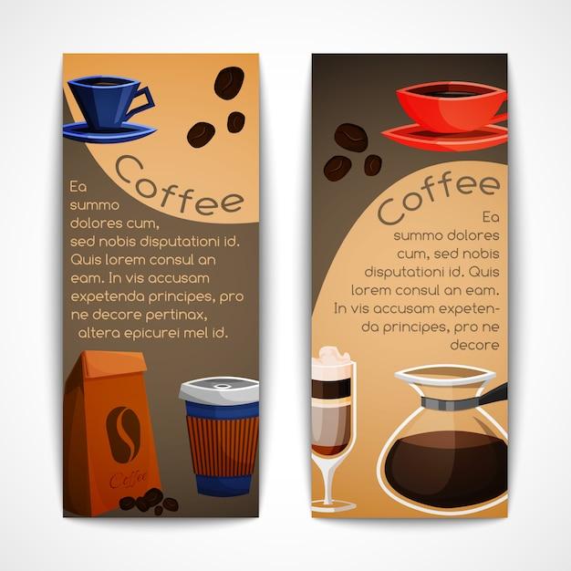 Kaffee banner vorlagensatz Premium Vektoren