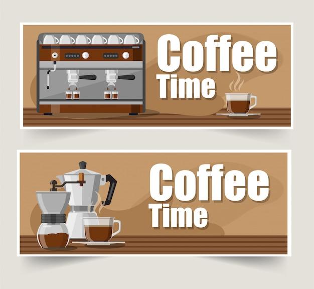 Kaffee banner Premium Vektoren
