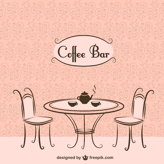 kaffee bar st hle und tisch download der kostenlosen vektor. Black Bedroom Furniture Sets. Home Design Ideas