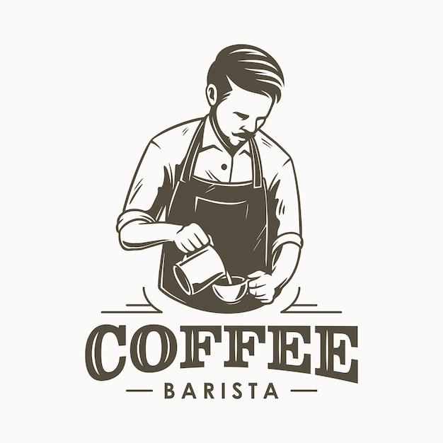 Kaffee barista oder barkeeper logo design Premium Vektoren