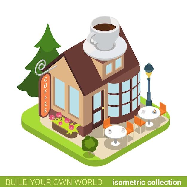 Kaffee cafe restaurant gebäude immobilien immobilienkonzept. Premium Vektoren