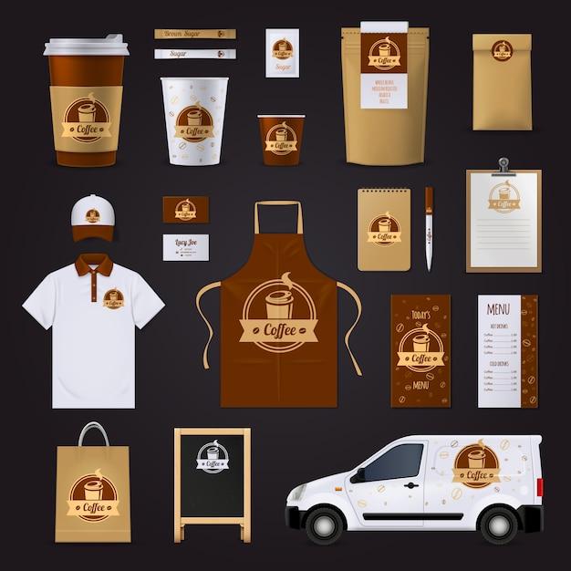 Kaffee corporate identity design Kostenlosen Vektoren