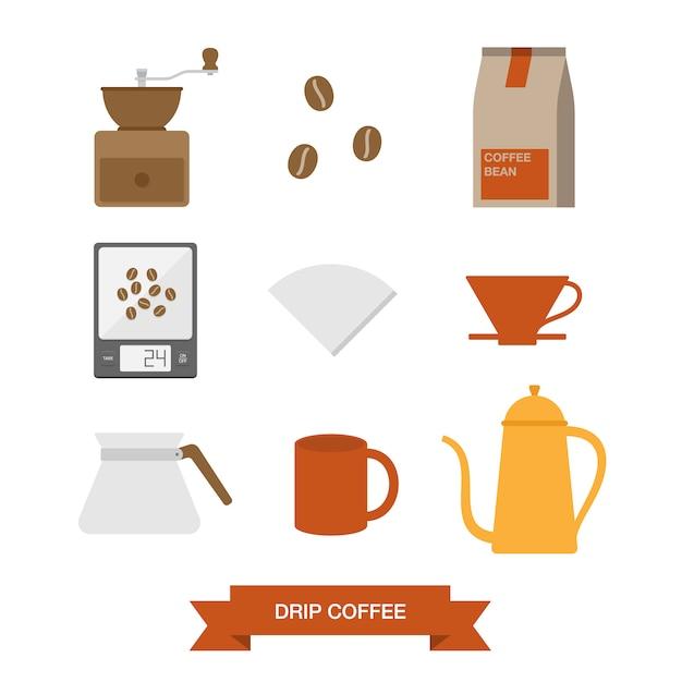 Kaffee-elemente-sammlung Kostenlosen Vektoren