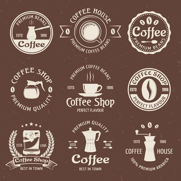 Kaffee-emblem in farbe gesetzt Kostenlosen Vektoren
