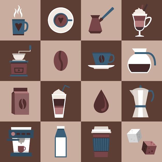 Kaffee flache icons set mit tasse tasse heiße dring pot türk tasche isoliert isoliert vektor-illustration Kostenlosen Vektoren