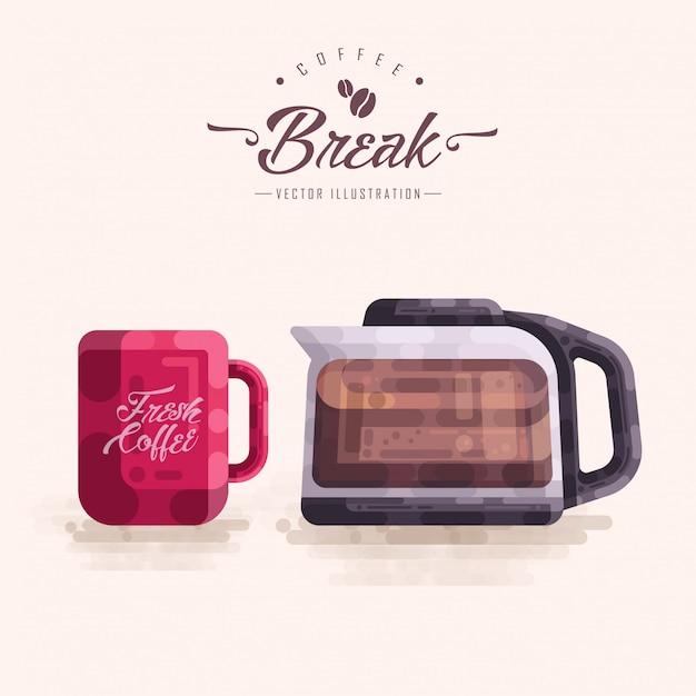 Kaffee-glastopf-krug-vektor-illustration Premium Vektoren