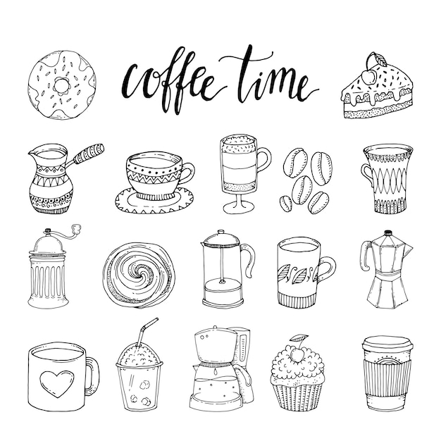 Kaffee hand gezeichnete monochrome elemente set Kostenlosen Vektoren