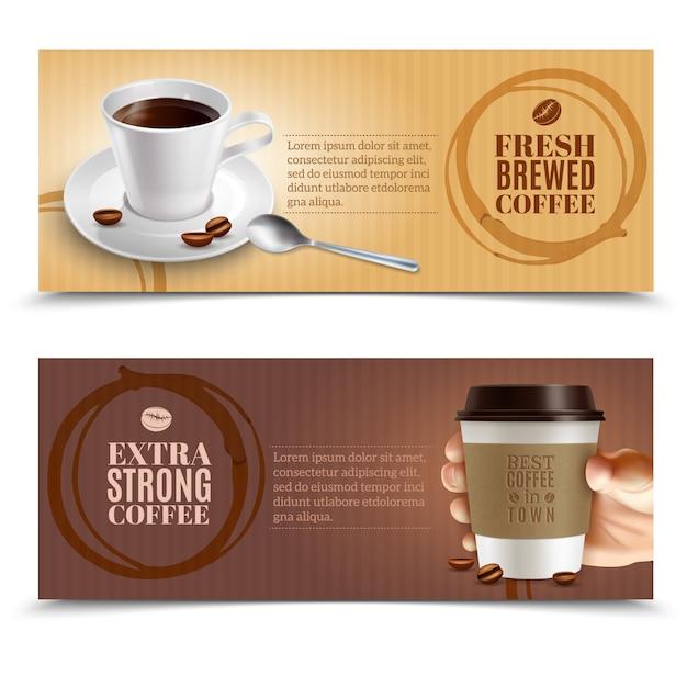 Kaffee horizontale banner gesetzt Kostenlosen Vektoren