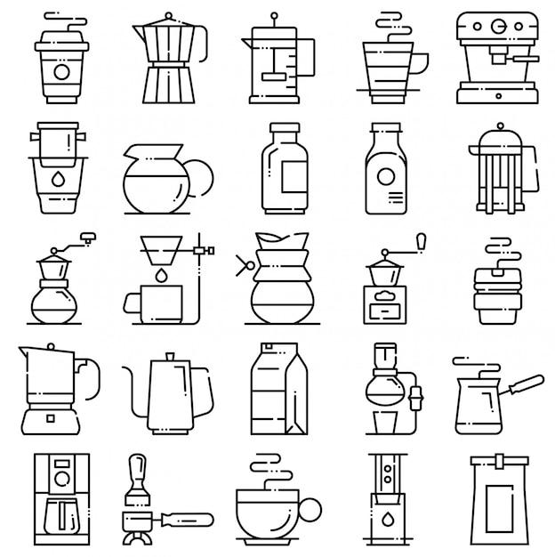 Kaffee-icon-set Premium Vektoren