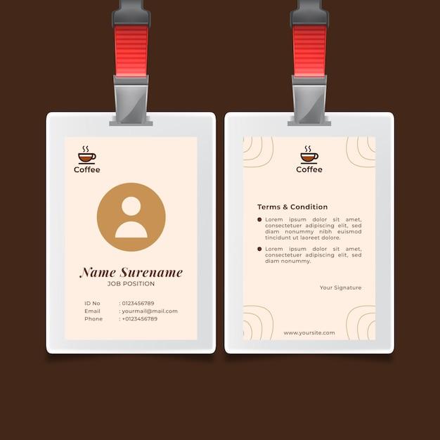 Kaffee-id-karte in premiumqualität Kostenlosen Vektoren