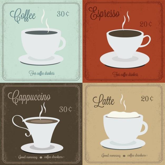 Kaffee karten Kostenlosen Vektoren