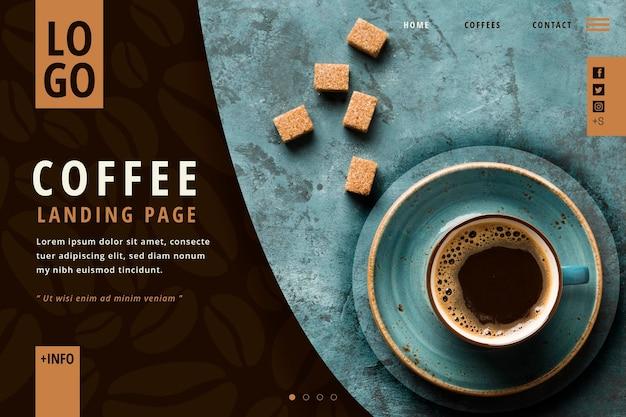Kaffee-landingpage-vorlage Premium Vektoren