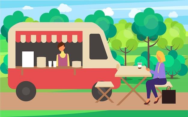 Kaffee-lkw-café-straßen-getränkesommer angemessen Premium Vektoren