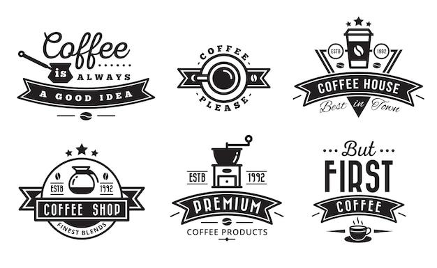 Kaffee-logo-abzeichen und label für café Premium Vektoren
