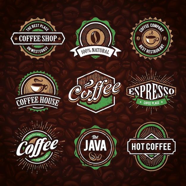 Kaffee-logo-sammlung Kostenlosen Vektoren