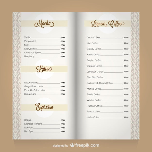 Kaffee-Menü Vektor Vorlage | Download der kostenlosen Vektor
