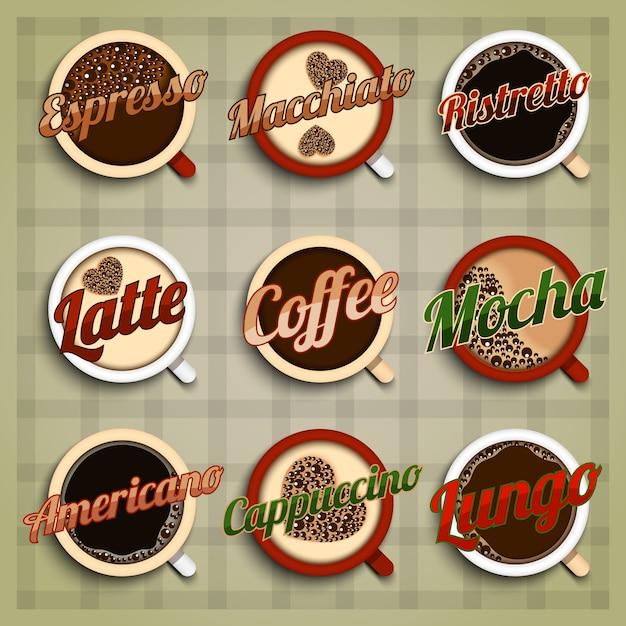 Kaffee-menü-etiketten-set Kostenlosen Vektoren