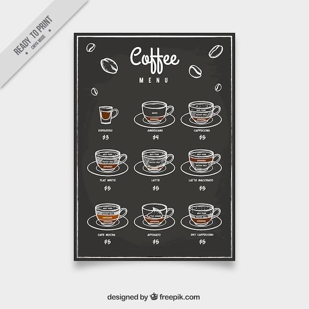 Kaffee-menü mit skizzen im vintage-stil Kostenlosen Vektoren